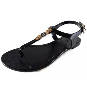 Jelly Sandals Ankle Strap Black Coach Tag Logo